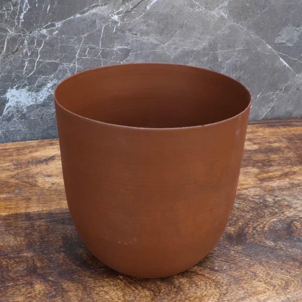 """Cache-pot orchidée """"Chili"""" métal effet brossé ø12 cm"""