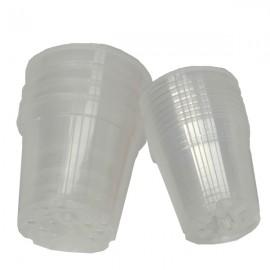 8 pots en plastique translucide diam. 15cm